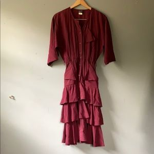 Vintage Dreamy Maroon Ruffle Statement Dress sz 4